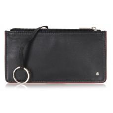 Portachiavi portamonete zip in pelle, chiave lunga blindata nero/bordò