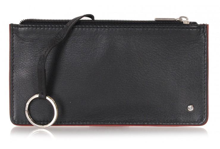 Schlüsseltasche reißverschluss etui aus leder 15cm black/burgundy