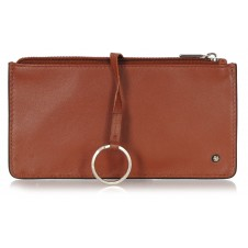 Leather long keys wallet and coin pouch with zip cognac