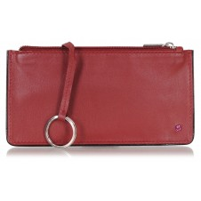 Leather long keys wallet and coin pouch with zip burgundy