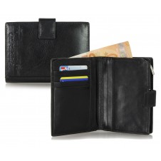 Women bifold wallet with ouside zip, 5 cards and loop closure - Black