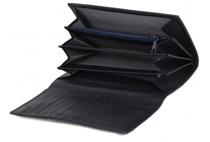 Portafoglio donna a soffietto con Zip in finissima pelle Blu