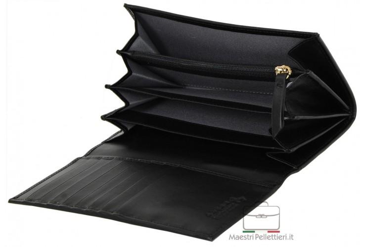 Portafoglio donna a soffietto con Zip in finissima pelle Nero