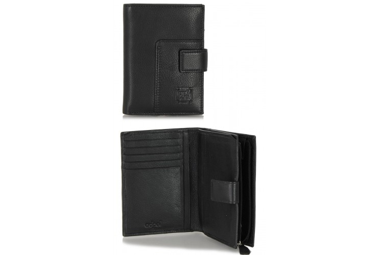 Women's bifolder wallet in soft leather with outer zip Black