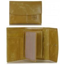 Portafoglio donna in pelle con pattina e portamonete Beige/Sesamo