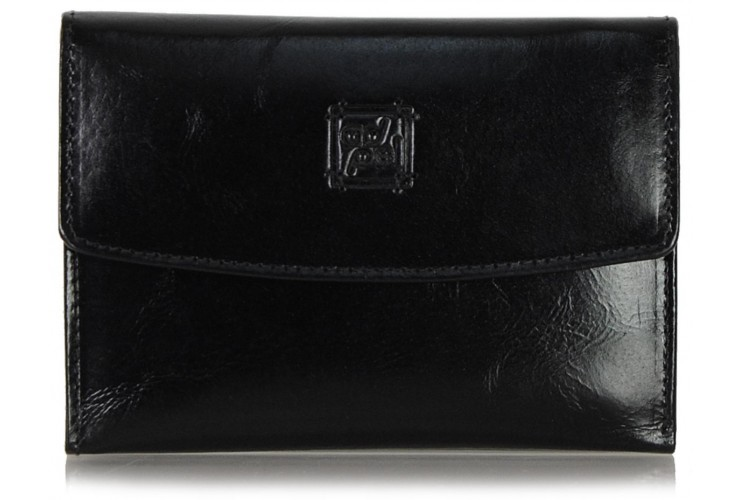 Women's trifolder wallet in soft leather, flap closure Black