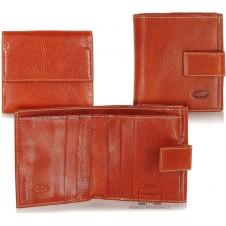 Damen kleine Portmonee mini Geldbörse aus Pflanzlich gegerbt leder Hellbraun/Orange