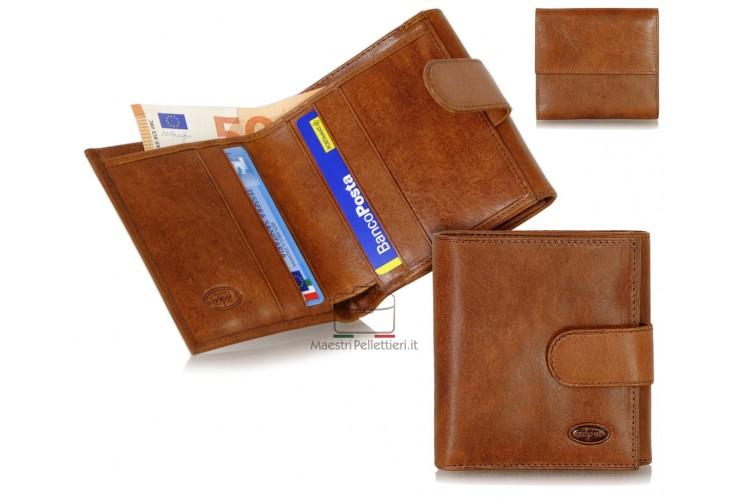 Damen kleine Portmonee mini Geldbörse aus Pflanzlich gegerbt leder Braun