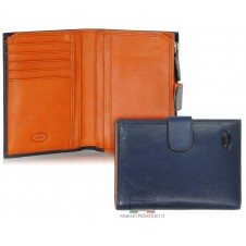 Women bifold wallet with ouside zip, 5 cards and loop closure - Vegetable leather Blue-Orange