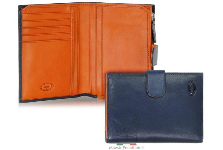 Portafoglio donna con zip portamonete esterna pelle al Vegetale Blu-Arancio