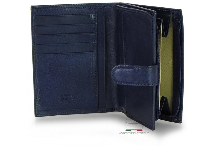 Women bifold wallet with ouside zip, 5 cards and loop closure - Vegetable leather Blue