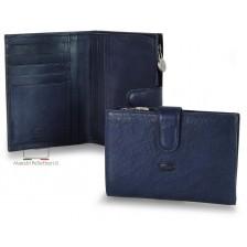 Portafoglio donna con zip portamonete esterna pelle al Vegetale Blu