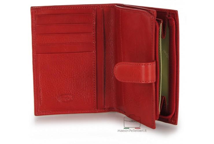 Portafoglio donna con zip portamonete esterna pelle al Vegetale Rosso