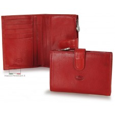 Women bifold wallet with ouside zip, 5 cards and loop closure - Vegetable leather Red
