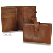 Women bifold wallet with ouside zip, 5 cards and loop closure - Vegetable leather Brown