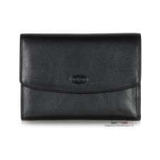 Women trifold wallet coinpurse, slots for cards, flap closure - Vegetable leather Black