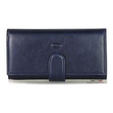 Women's long folding wallet with 4 gussets, zips and credit cards - Vegetable leather Blue