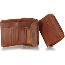 Portafoglio donna con zip e soffietto in Vacchetta Tosc. Cognac/Marrone