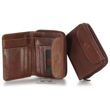 Portafoglio donna con zip e soffietto in Vacchetta Tosc. Castagno/Marrone