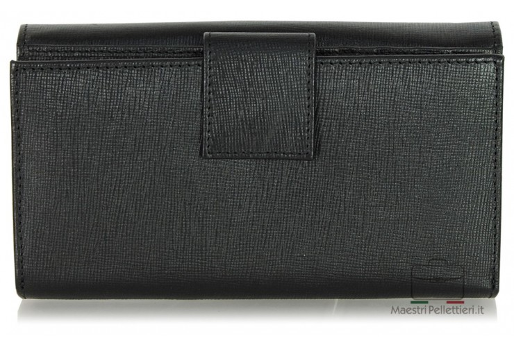 Women's wallet colorful with gusset in black leather Saffiano