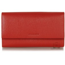 Portafoglio donna soffietto colorato in pelle Saffiano Rosso