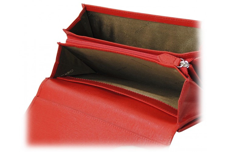 Women's wallet colorful with gusset in Red Saffiano leather