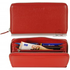 Portafoglio donna colorato in pelle Saffiano Rosso con zip all around