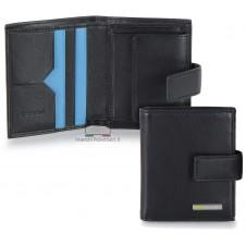 Men's leather bifold wallet, handy billfold 3 cards coin loop Black