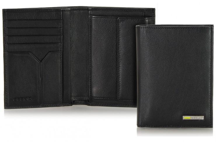 Portafoglio verticale tasconcino pelle 5cc portamonete Nero