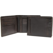Men's fashion leather wallet 8 cc and IDcards pockets Brown/Moka