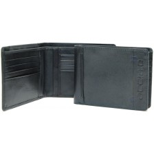 Men's fashion leather wallet 8 cc and IDcards pockets Blu