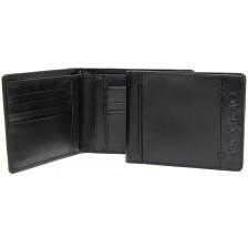 Portafoglio uomo in pelle 8cc e documenti identità Nero