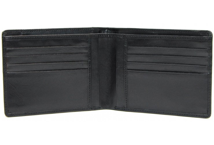 Men's fashion leather wallet 8 cc and IDcards pockets Black