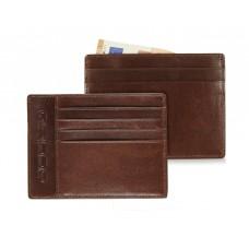 Portafoglio piatto in pelle, 4cc e 3 documenti Marrone/Cognac