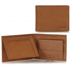 Men's wallet in soft Cognac calfleather with flap coinpocket 7cc