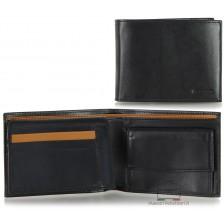 Portafoglio uomo in pelle portamonete aletta e 7cc Nero/Cuoio