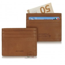 Porta carte di credito piatto 6cc da taschino in pelle Cuoio/Cognac