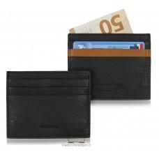 Porta carte di credito piatto 6cc da taschino in pelle Nero/Cuoio