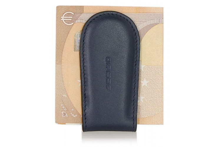 Fermasoldi magnetico clip in pelle Vitello soft Blu