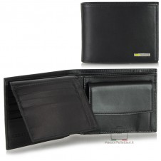 Men's wallet in soft italian leather with flap coin purse 8cc Black