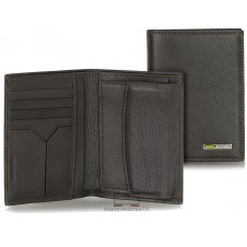 Men's breast pocket vertical wallet with coin purse in leather Brown