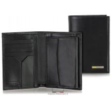 Portafoglio verticale uomo con portamonete in pelle Nero