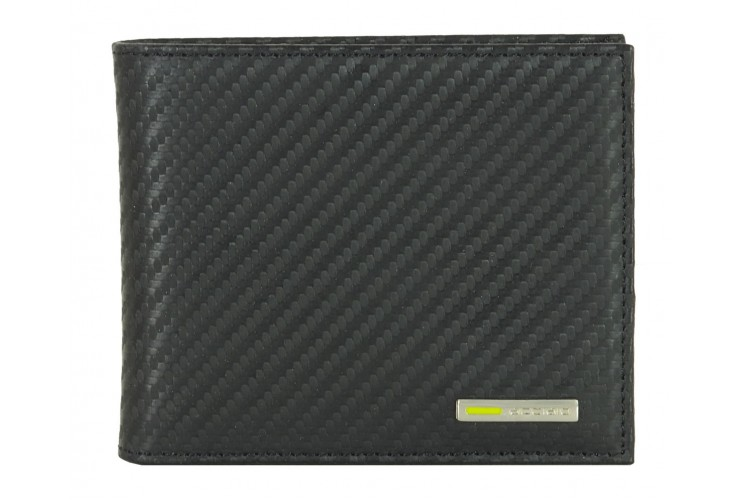 Men's small wallet carbon-design leather Black