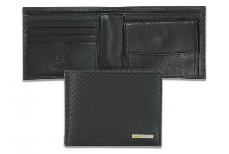 Portafoglio uomo portamonete 4cc in pelle disegno carbonio
