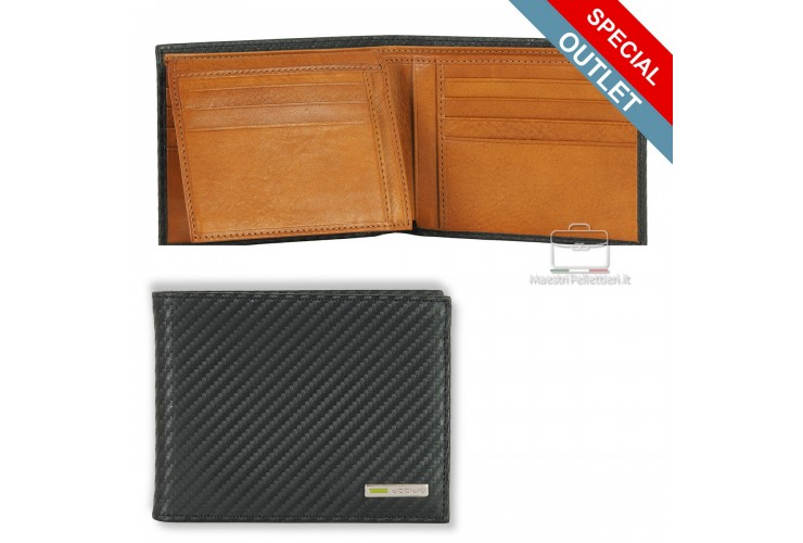 Men's wallet with flap and 11cc in carbon leather cowhide Black