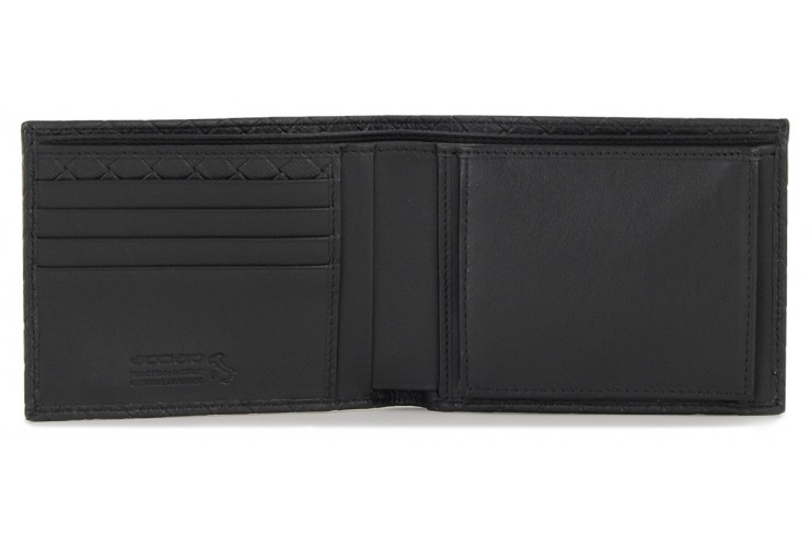 Men's wallet with coin box and 4cc braided leather Black