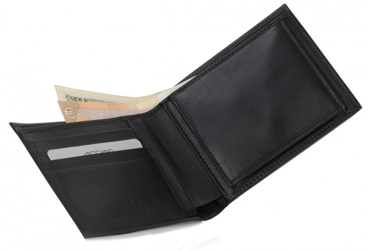 Men's wallet with coin box and 4cc leather Black