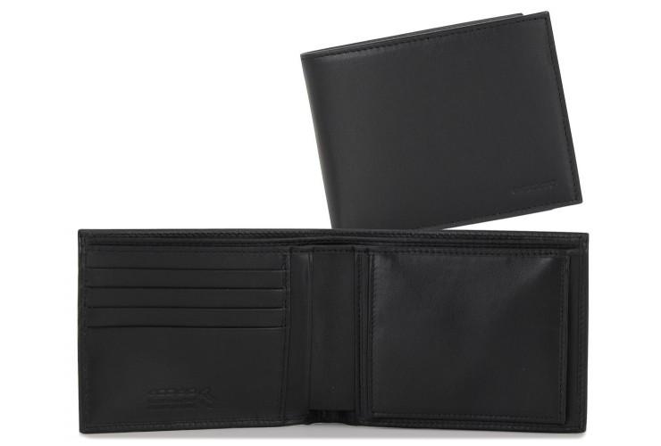 Herren Brieftasche mit münzfach Wiener Schachtel aus weiches leder Schwarz