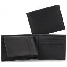 Herren Brieftasche mit klappe, 11kk, ausweisfächer saffiano leder Schwarz
