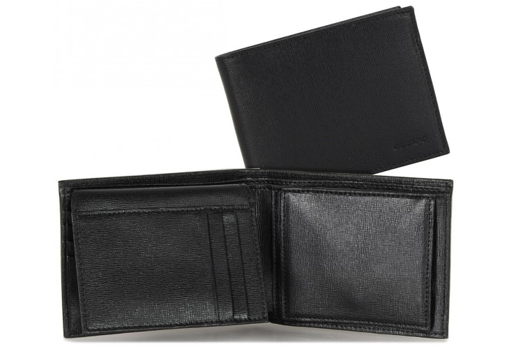 Men's wallet with flap coin and 4cc leather saffiano Black